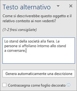 Finestra di dialogo Testo alternativo in Word per Windows