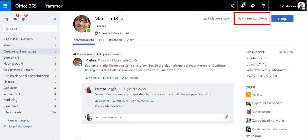 Profilo pagina chiamata con Skype