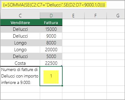 Esempio 3: Funzioni SOMMA e SE annidate in una formula