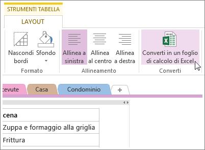 Convertire una pagina di OneNote in un foglio di calcolo di Excel