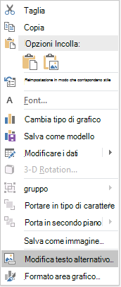 Menu Modifica testo alternativo di PowerPoint Win32 per i grafici