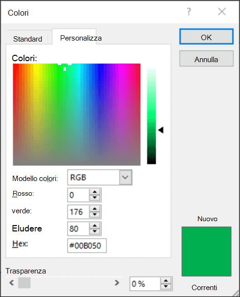 Selezione colori nelle app di Office. Nei campi RGB è presente un nuovo campo in cui immettere il valore del colore esadecimale.