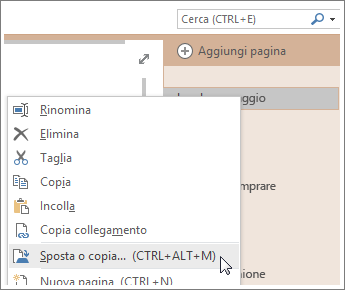 Screenshot che illustra come spostare o copiare una pagina in OneNote 2016.