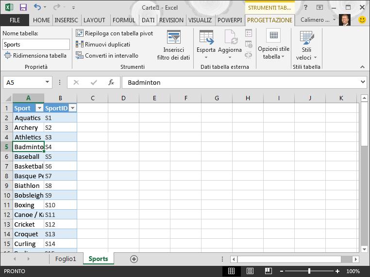 Denominare una tabella in Excel