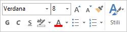 Barra di formattazione rapida per la formattazione del testo del messaggio
