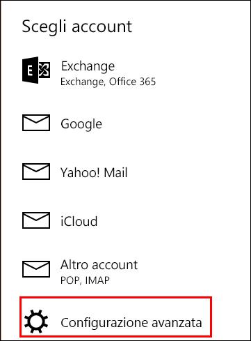 Configurazione avanzata nell'app Posta