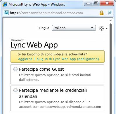 Opzioni di partecipazione a una riunione con Lync Web App