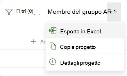 Screenshot del menu in Project per il Web con l'opzione Esporta in Excel