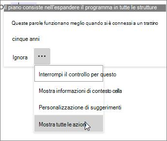 Aprire il menu extra e fare clic su Mostra tutte le azioni per accedere alle azioni non dell'Editor, come Opzioni Incolla, Traduci e altro.