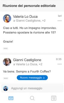 Nuova esperienza di conversazione in Outlook per iOS