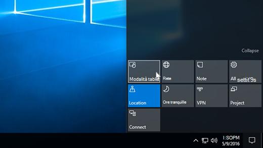 Immagine dell'azione rapida modalità tablet