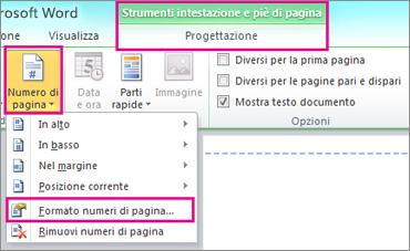 Formato numeri di pagina