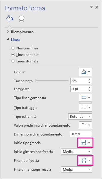 Sulla linea di connessione selezionata aggiungere, modificare o rimuovere una freccia.