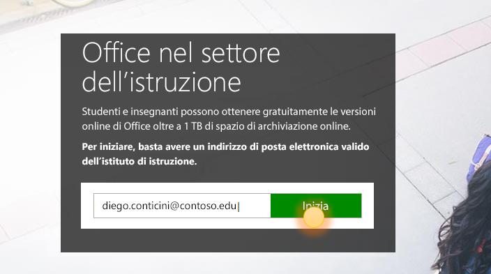 Screenshot della pagina di accesso alla schermata iniziale.