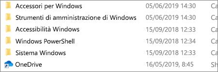 Screenshot che mostra l'applicazione OneDrive in Esplora file.