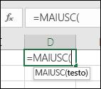 Screenshot della barra degli strumenti Riferimento a funzione