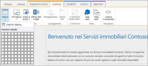 Screenshot che mostra la barra multifunzione di SharePoint Online. Selezionare la scheda Inserisci e quindi Inserisci tabella per specificare il numero di righe e colonne per una nuova tabella.