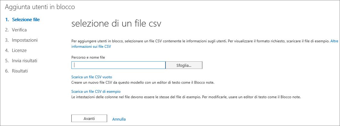 Passaggio 1 della procedura guidata Aggiunta utenti in blocco - Selezione del file CSV