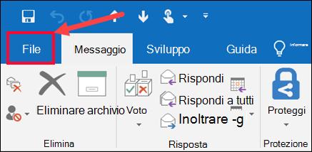 Selezionare quindi Salva con nome dal menu File.