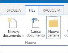 Scheda File sulla barra multifunzione con il pulsante Nuova cartella evidenziato