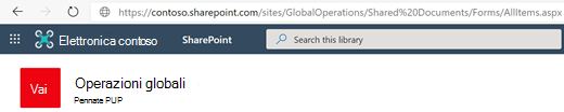 Raccolta documenti con l'URL visualizzato nella barra degli indirizzi.