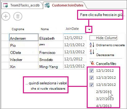 Applicazione del filtro a una colonna in una query in un'app Access.
