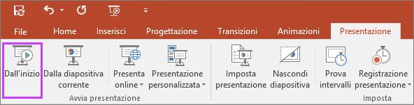 """Mostra il pulsante """"Dall'inizio"""" nella scheda Presentazione di PowerPoint"""