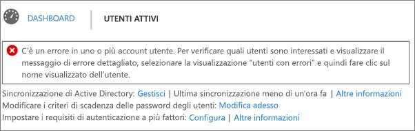 Dichiarazione di errore di sincronizzazione della directory nella parte superiore della pagina Utenti attivi