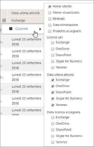 Opzioni di filtro a livello di utente
