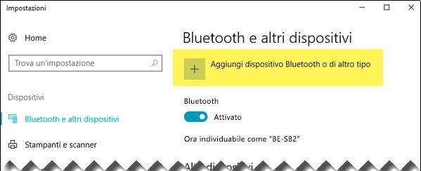 Aggiungere un dispositivo Bluetooth