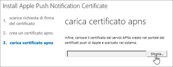 Fare clic sul pulsante Sfoglia per selezionare il certificato APN scaricato da Apple