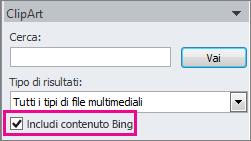 Casella di controllo Includi contenuto Bing