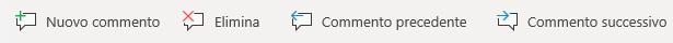 I pulsanti di commento in un dispositivo Windows Mobile: creare un nuovo commento, Elimina commento corrente, Vai al commento precedente e Vai al commento successivo