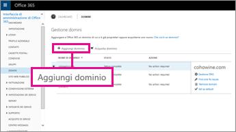 Fare clic su Aggiungi un dominio nella pagina Domini di Office 365.