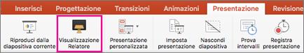 Visualizzazione Relatore nella scheda Presentazione