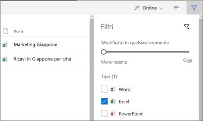 Screenshot di fitering la visualizzazione condivisi con me in OneDrive for business