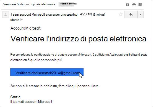 Verificare l'indirizzo di posta elettronica