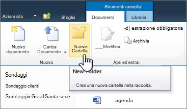 Barra multifunzione Documenti di SharePoint 2010 con il comando Nuova cartella evidenziato