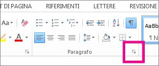 Pulsante di visualizzazione della finestra di dialogo Paragrafo