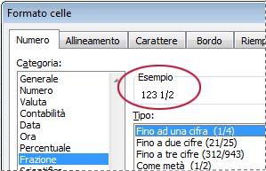 Casella Esempio selezionata nella finestra di dialogo Formato celle