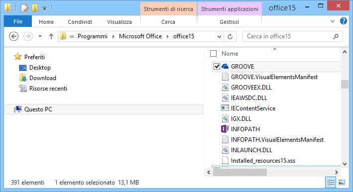 Ricerca di Groove.exe in Windows