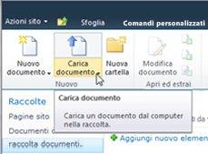 Caricamento di documenti nella Raccolta documenti da organizzare