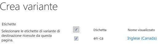 Schermata con caselle di controllo che mostrano i siti variante che dovranno ricevere gli aggiornamenti del contenuto. Sono incluse le etichette di variante e i nomi visualizzati corrispondenti.