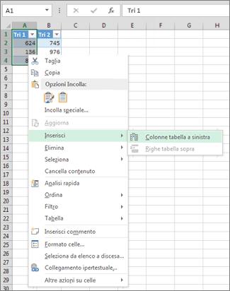 inserimento di una colonna di tabella