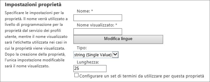 Impostazioni delle proprietà del profilo utente di amministratore