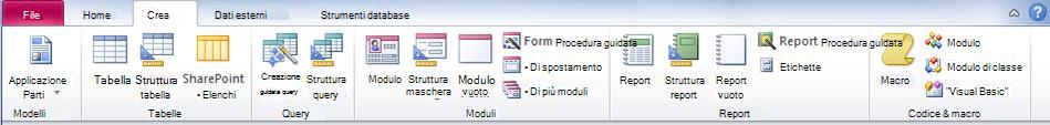 Scheda Crea sulla barra multifunzione in Access