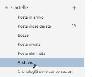 Screenshot del pulsante Archivia