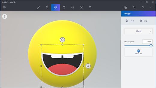 Uso dello strumento adesivo in Paint 3D