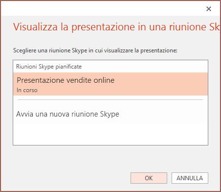 Mostra la finestra di dialogo per avviare una presentazione online in PowerPoint