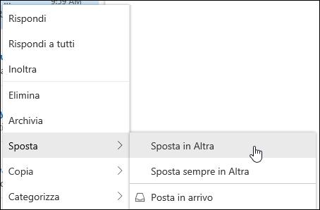 Uno screenshot mostra il menu di scelta rapida con le opzioni per il passaggio ad altre cartelle posta in arrivo e si trasferisce sempre in una cartella posta in arrivo.